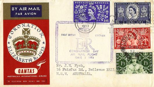 Elizabeth II Coronation, Quantas Air Mail Flight