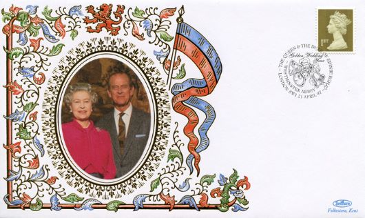 Window: Gold Definitives: 10 x 1st, The Queen & Prince Philip