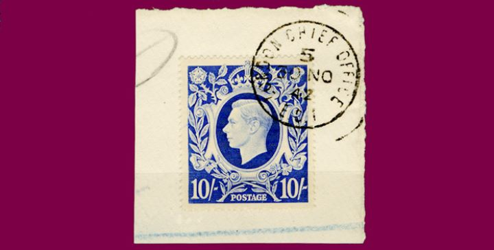 KGVI: 10s Ultramarine, On Piece