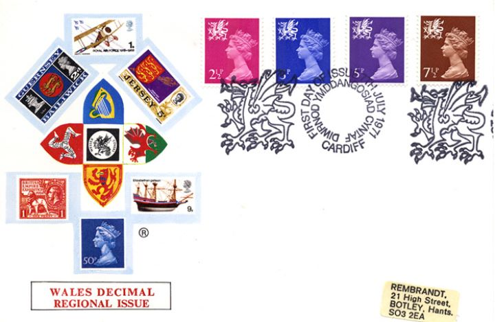 Wales 2 1/2p, 3p, 5p, 7 1/2p, Regional Coats of Arms & Stamps