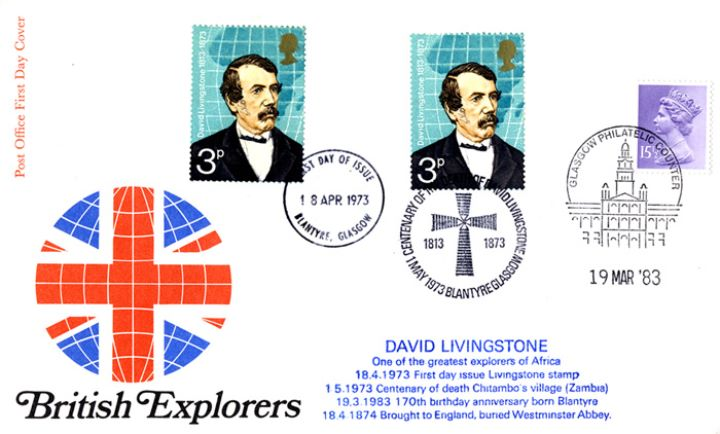 British Explorers, Triple Dated Cover - Livingstone Overprinted Cover