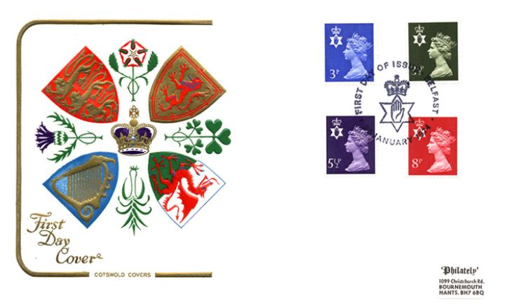 Northern Ireland 3 1/2p, 5 1/2p, 8p, Regional Coats of Arms & Emblems