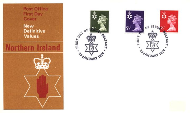 Northern Ireland 3 1/2p, 5 1/2p, 8p, Red Hand of Ulster
