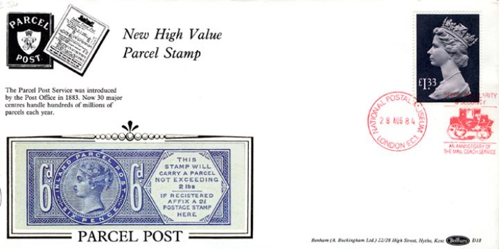 Machins: Parcel Post: £1.33, Victorian Parcel Post Stamp