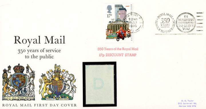Counter: The Royal Mail: £1.53 Datapost, The Royal Arms