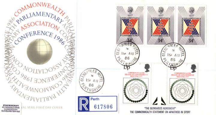 Parliament 1986, Royal Mail covers with cds Postmarks