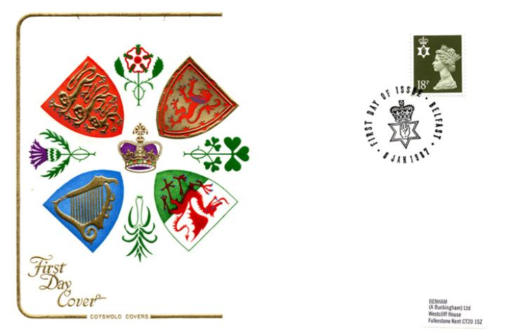Northern Ireland 18p Olive-green, Regional Coats of Arms & Emblems