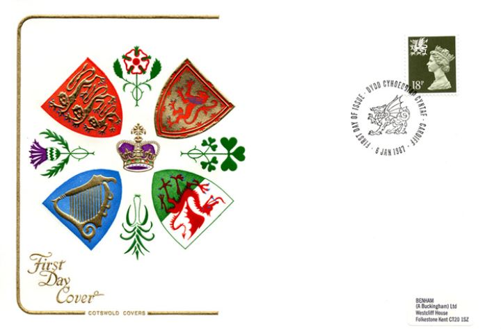 Wales 18p Olive-green, Regional Coats of Arms & Emblems