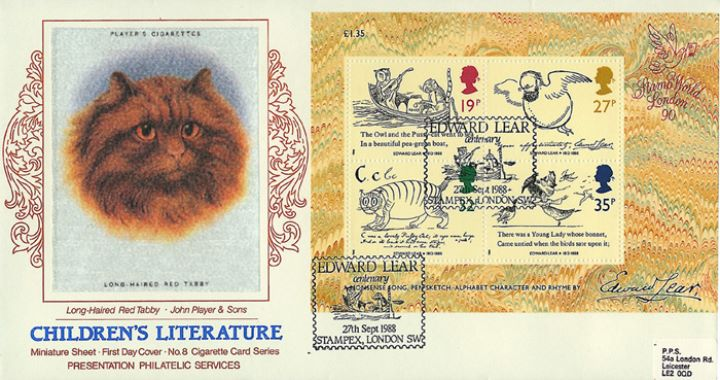 Edward Lear: Miniature Sheet, Long Haired Red Tabby