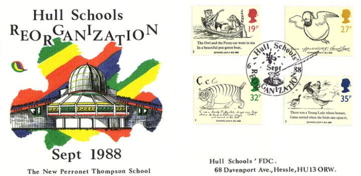Edward Lear: Stamps, Hull Schools Reorganisation