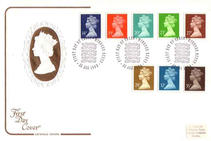 Machins: 14p, 19p, 20p, 23p, 27p, 28p, 32p, 35p, Embossed Head of the Queen