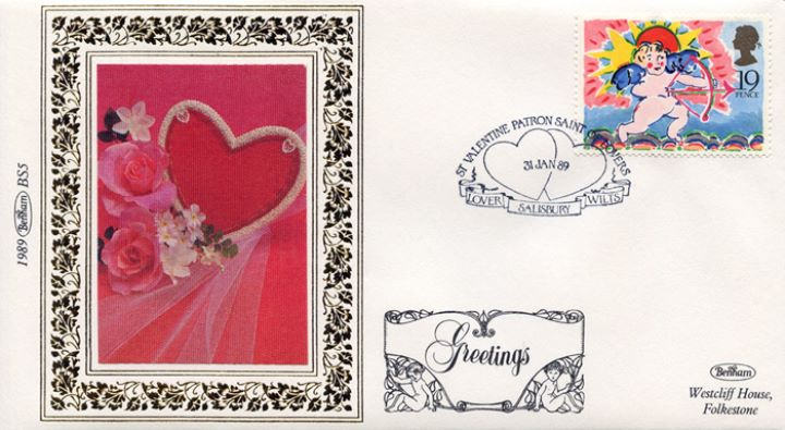 Greetings Stamps, Heart and Flowers