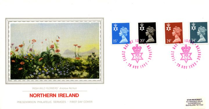 Northern Ireland 15p, 20p, 24p, 34p, Irish Wild Flowers