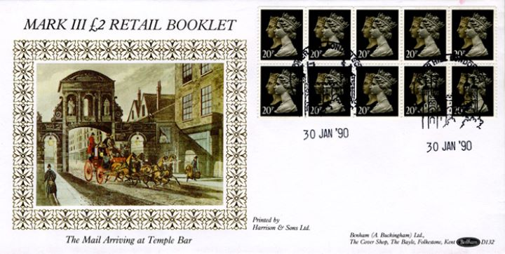 Window: Penny Black Anniversary: £2, Mail arriving at Temple Bar