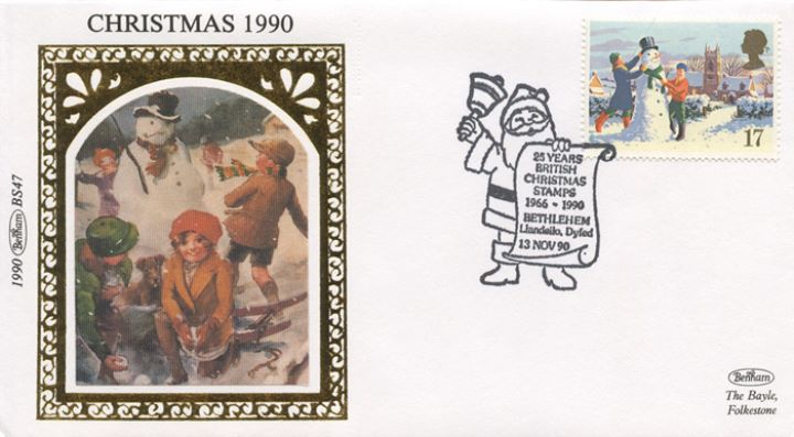 Christmas 1990, Children and Snowman