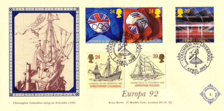 Europa 1992, Christopher Columbus using an Astrolabe c. 1492