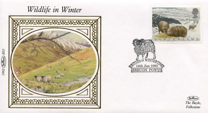 4 Seasons: Winter, Sheep on Welsh hills
