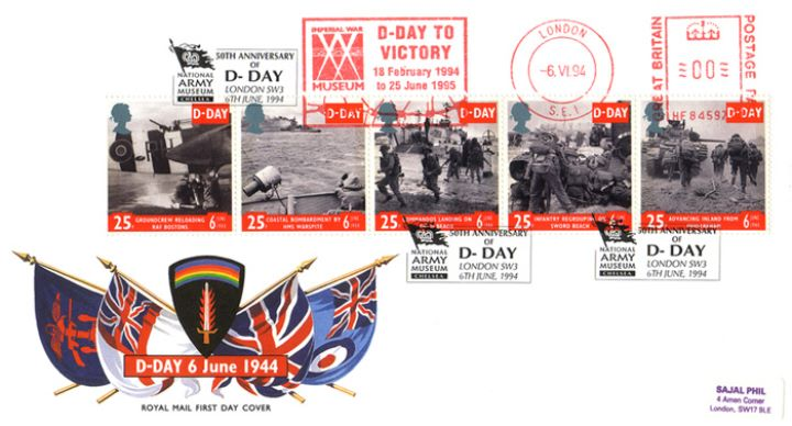 D-Day 50th Anniversary, Flags of British Forces and SHEAF crest
