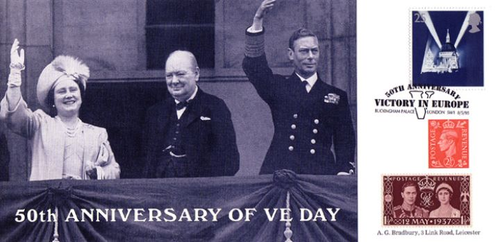 VE Day, King & Queen with Churchill