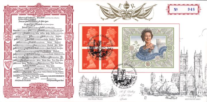 Window: Queen's 70th Birthday, Family Tree