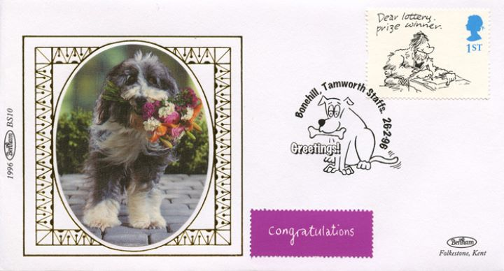 Cartoons (Greetings), Dog with bunch of flowers