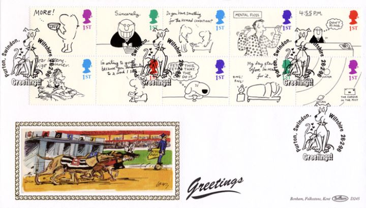 Cartoons (Greetings), Greyhounds chase postman