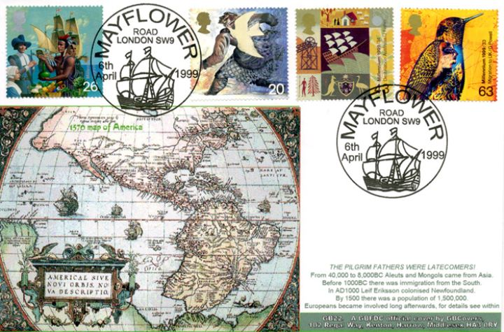 Settlers' Tale, Map at time of the Pilgrim Fathers