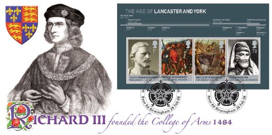 The Houses of Lancaster & York: Miniature Sheet, Richard III Founder of the College of Arms