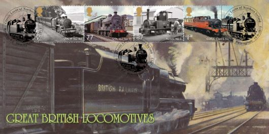 Great Railway first day covers designed by Adrian Bradbury