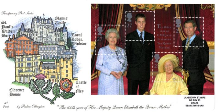 Queen Mother: Miniature Sheet, Royal Residences