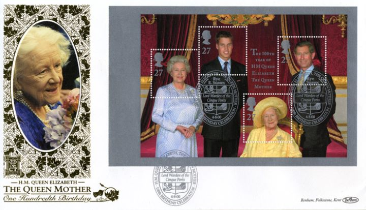PSB: Queen Mother - Pane 3, The Royal Family - 4 Generations
