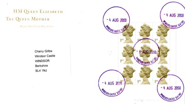 PSB: Queen Mother - Pane 2, Windsor Castle Postmark