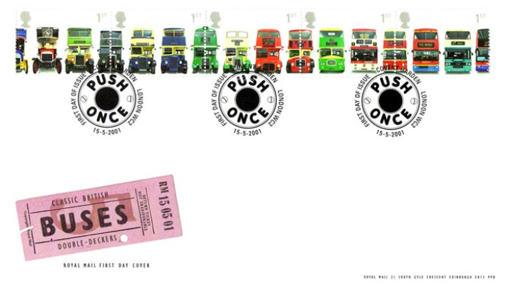 Double Decker Buses: Stamps, Bus Ticket
