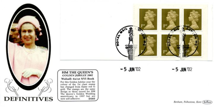 Self Adhesive: Gold Stamps: 6 x 1st, H M The Queen