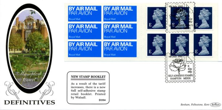 Self Adhesive: Airmail: 6 x E, Hampton Court