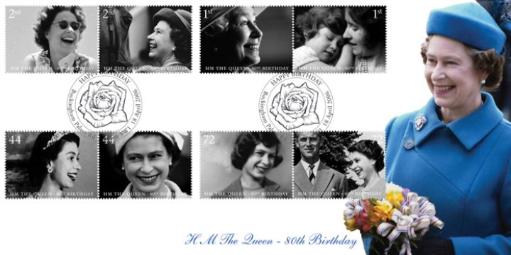 Queen's 80th Birthday, With bouquet of flowers
