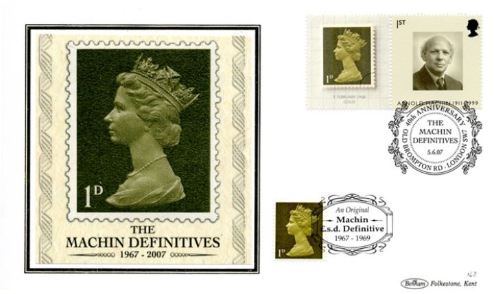 Machin 40 Years: Generic Sheet, The first Machin stamps