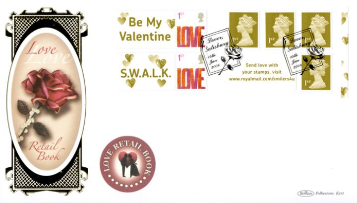 Self Adhesive: 6 x 1st Advert (Valentines), Rose and Pearls