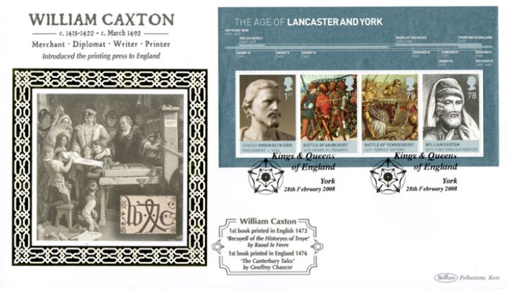 The Houses of Lancaster & York: Miniature Sheet, William Caxton