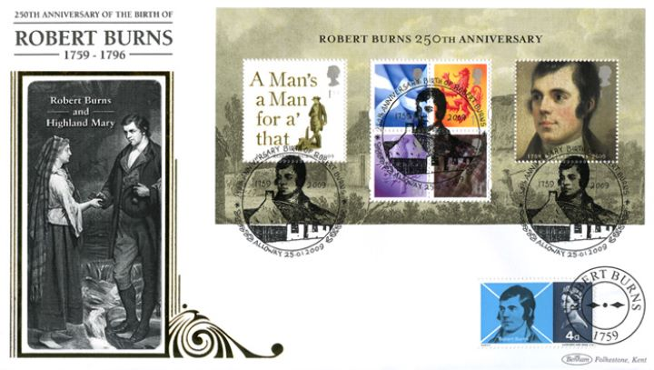 Robert Burns: Miniature Sheet, Burns and Highland Mary