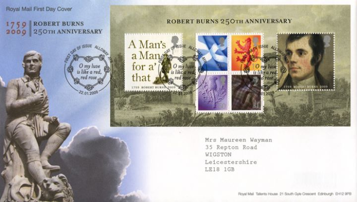 Robert Burns: Miniature Sheet, Burns Statue