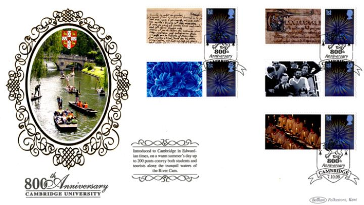 Cambridge University [Commemorative Sheet], Punts on River Camb