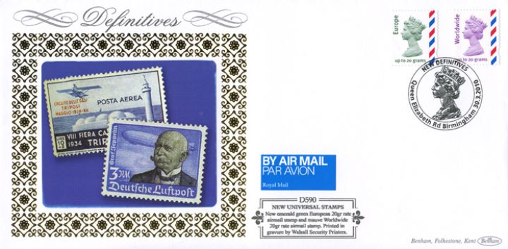 Machins (EP): 60p, 67p, 88p, 97p, £1.46, E, W, Air Mail Stamps