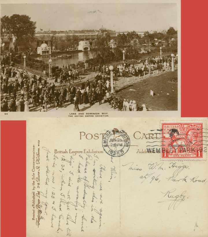 Wembley Exhibition 1925, The Lake and Dominion Way Picture Post Card