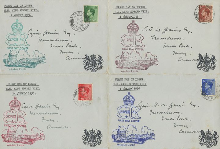 KEVIII: 1/2d, 1 1/2d, 2 1/2d, Windsor Castle Set of 4