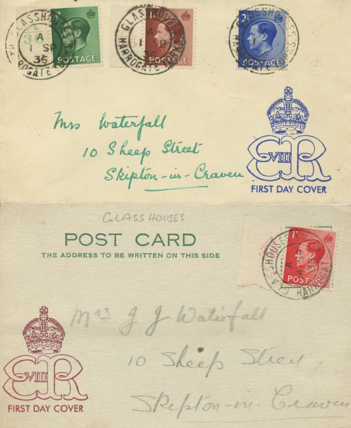 KEVIII: 1/2d, 1 1/2d, 2 1/2d, Set of 4 Edward VIII stamps on two covers