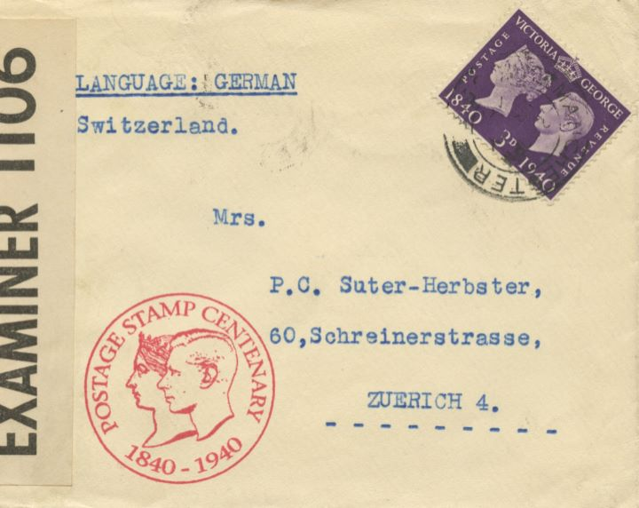 Postage Stamp Centenary, Opened by Examiner