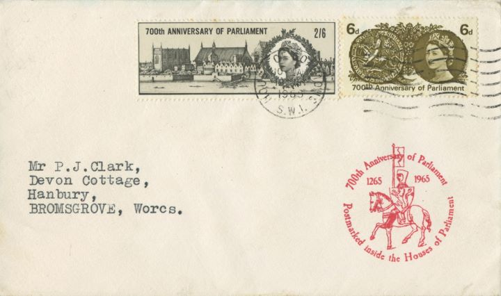 700th Anniv. of Parliament, Plain cover with cachet