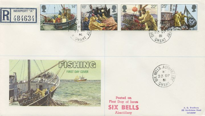 Fishing, 'Six Bells' postmark