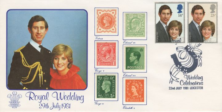 Royal Wedding 1981, Stamps from Six Reigns